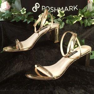 *Nine West* Gold strap with gold mirror block heel